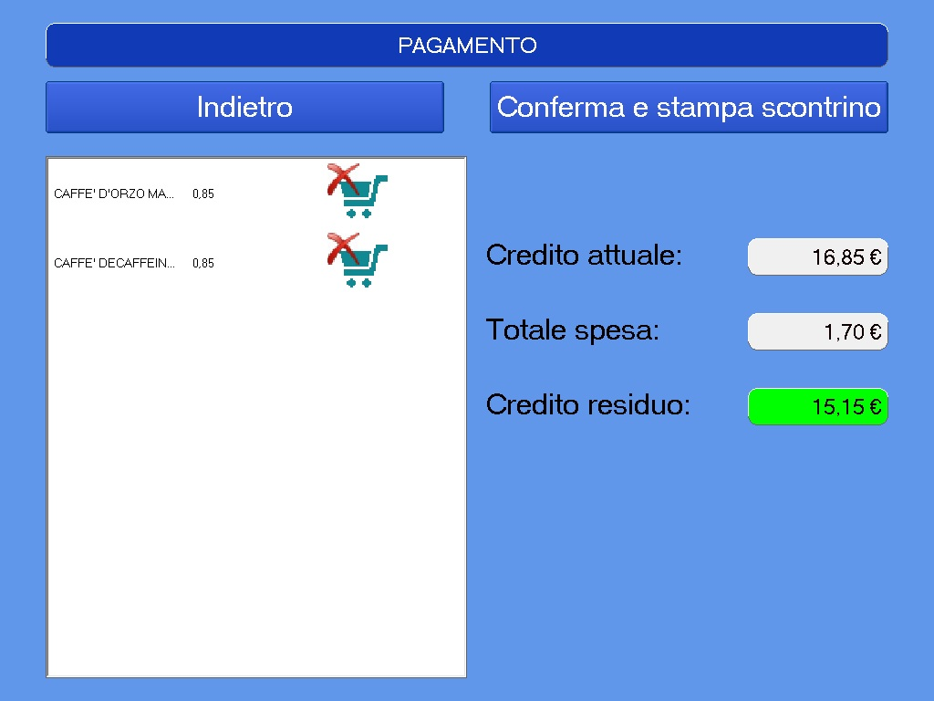 Ecash screenshot, pagamento